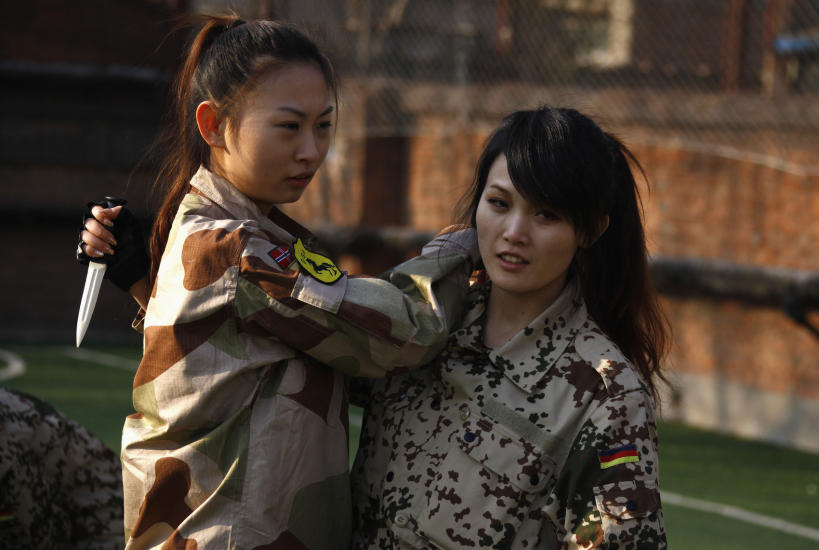 Chinese army girl tied to tree 2 4