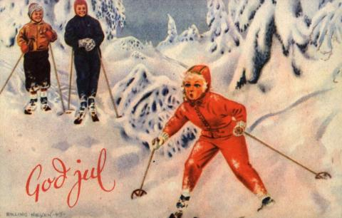 christmas-card-by-erling-nielsen-girl-on-skis