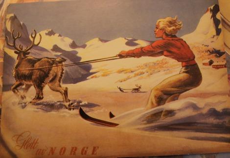 Reinsdyr og jenta på ski
