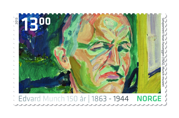 Stamp Edvard Munch Self Portrait 1926