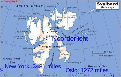 Svalbardkart med destinasjoner