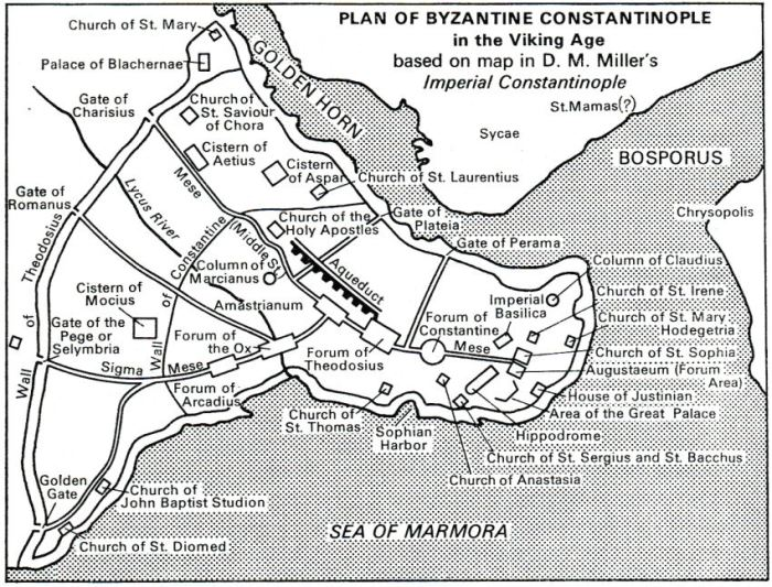 Plan of Byzantine Constantinople in Viking Age