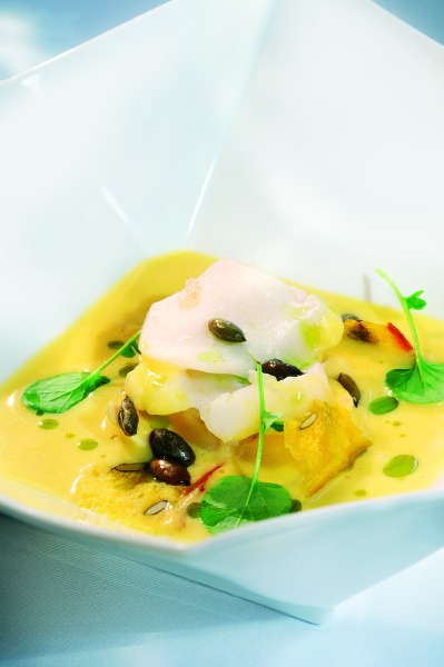 Cod Flakes in Pumpkin Soup by Geir Skeie Resize