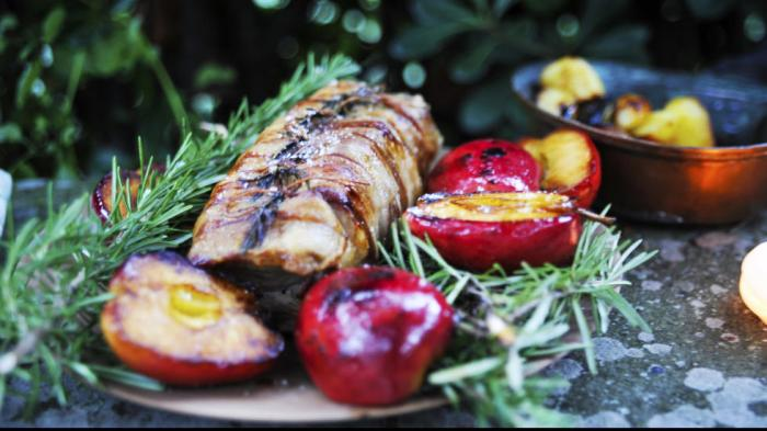 Pork Loin with Panchetta, rosemary and apples