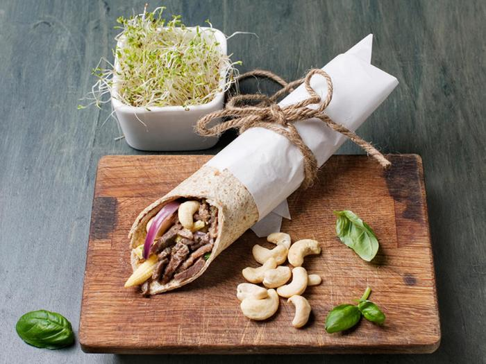 Friday Night Whole Grain Taco Wrap with Reindeer and Cashew Nuts