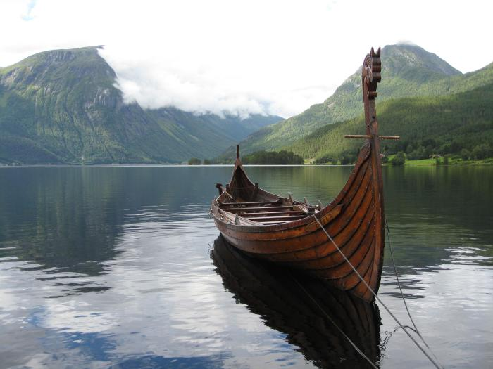 Viking Ship by Fjord in Western Norway