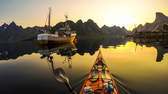 Kayaking in Reinefjord with Midnight Sun Norway