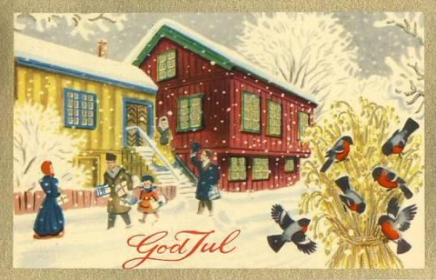 Old Norwegian Christmas Card 1953-2