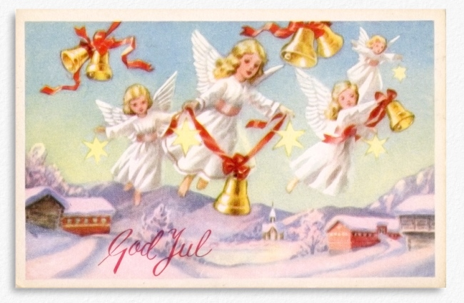 Old Norwegian Christmas Card 1955