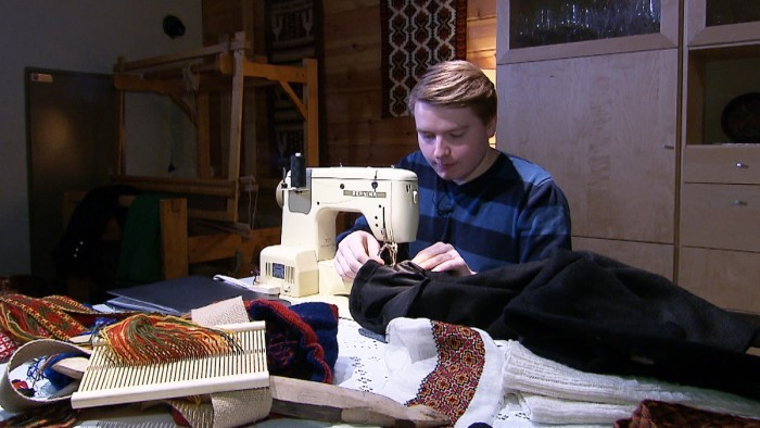 Rune is sewing his own Bunad