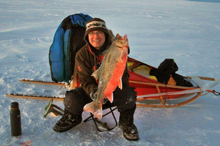 Ice Fishing Arctic Char Finnmark Norway